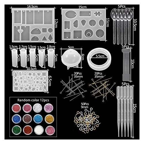 JSJJAYU Resin Molds 300Pcs Jewelry Epoxy Silicone Casting Molds Sets Mixed Style UV Resin Tools Molds For Diy Jewelry Making Findings Kits Supplies (Color : KT0023 19)
