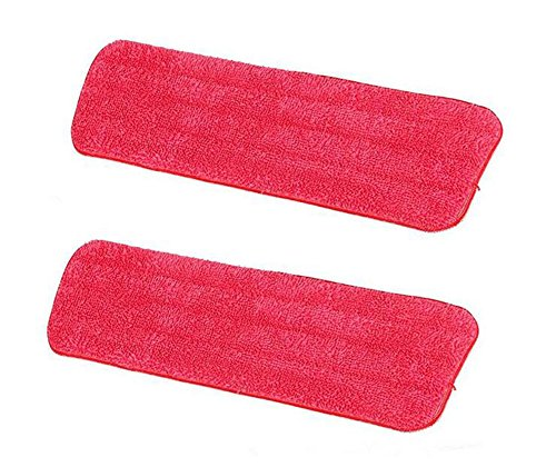 Hosaire 2X Gamuza Lavable de Microfibra, Repuesto para Escoba, Spray Mop by Tech Star, con Superficie Superior Compatible – Color Rojo(42 * 13cm)