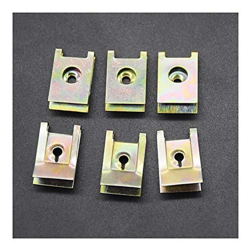 Clip decorativo Placa Base 20pcs Auto sujetador tornillo U Tipo J98 tuerca clips de retención de montaje del motor de coche Fender protector de parachoques de la abrazadera Herramientas de sujetadores