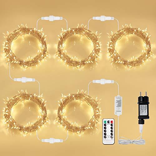 500 LED Lichterkette Steckdose, KooPower 50M Lichterkette Strom mit EU Stecker, 8 Modi, Dimmbar, Erweiterbar, Wasserdichte, Fernbedienung, Timer, für Weihnachtsbeleuchtung, Zimmer, Innen, Warmweiß
