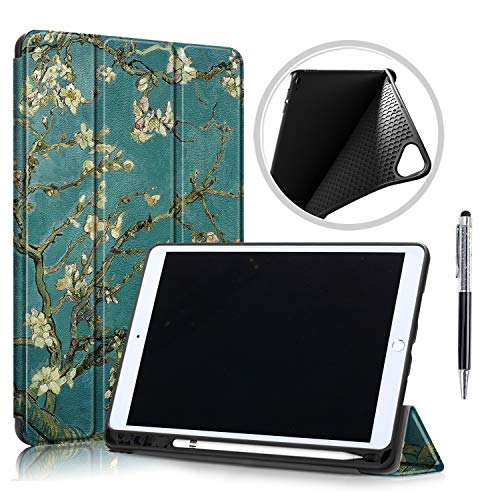 QYiD Case for New iPad 10.2 2019, iPad 7th Generation 2019 Case, Ultra Slim Lightweight Smart Protective Cover Auto Wake/Sleep with Pencil Holder & Stylus for iPad 10.2' Tablet (Apricot Flower)