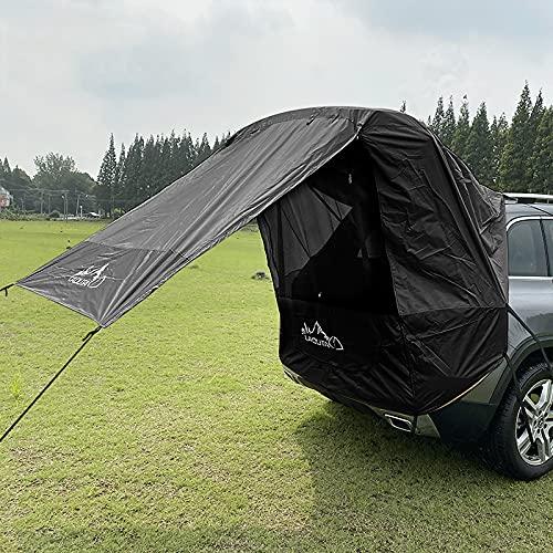 Carpa para EI Sol para Automóvil, Toldo para Automóvil Refugio para EI Sol con Ventana de Gasa Protección Solar Camper Carpa para Puerta Trasera para Automóvil para SUV Conducción Camping (Negro)