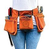 ReplaceMint Tool Belt for Women - Waist Bag for Gardening, Cleaning, Makeup, Handyman Work - MEDIUM-DUTY Tool Belt - Suede-Like Material - Burnt Orange Tool Belt