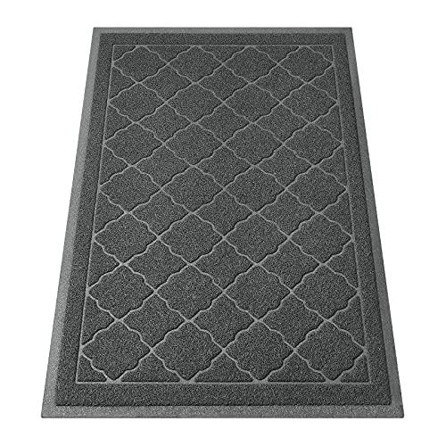 HOMEIDEAS Durable Indoor Door Mat, 23x35, Outdoor Waterproof Doormat, Trap Dirt & Dust, Low-Profile Outside Inside Doormat, Non-Slip, Easy Clean, for Front Door, Entryway, Garage, Patio, Dark Grey