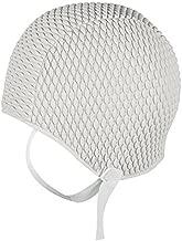 White Swimming Hat Swim Cap With Chin Strap Ladies Mens by Fine Saratoga