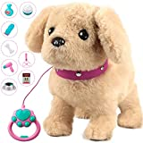 Forty4 Plush Electronic Dog, StuffedPuppyDog with Remote Control Leash, Interactive Companion Dog Toy, Realistic Pet Dog with Music, Walking, Singing, Wagging Tail, Gifts for 2 3 4 Year Boys & Girls