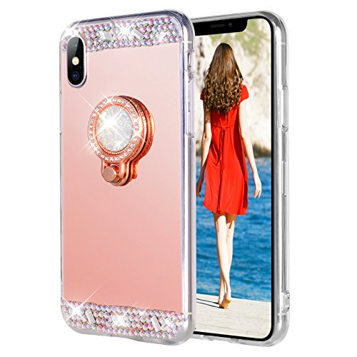 WATACHE iPhone Xr Case, Luxury Glitter Shiny Bling Cute Diamond Mirror Makeup Case for Girls with Finger Ring Kickstand Flexible TPU Protective Case for iPhone Xr(Rose Gold)