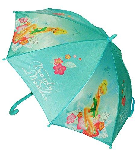 alles-meine.de GmbH Regenschirm  Disney Fairies Tinkerbell  - Kinderschirm Ø 80 cm - für Kinder Stockschirm Schirm - Fairy Feen - Mädchen türkis - Kinderregenschirm Blumen Fee