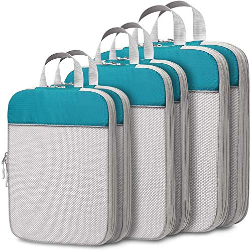 Compression Packing Cubes for Travel, Cambond 6 Pcs Expandable Luggage Organizers Compression Cubes for Packing with Mesh Top and Durable Zipper...