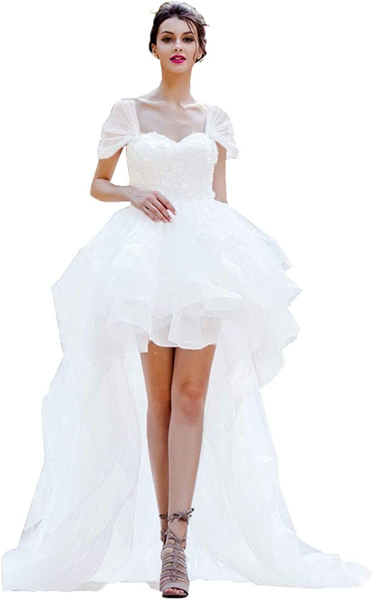 Modeldress Women High Low Country Wedding Dresses for Bride 20 Cap  Sleeves Bridal Gowns