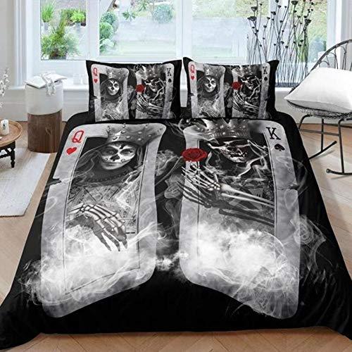 QQWZ Juego de ropa de cama con diseño de calavera reina, tamaño 3D, 240 x 260 cm, color negro