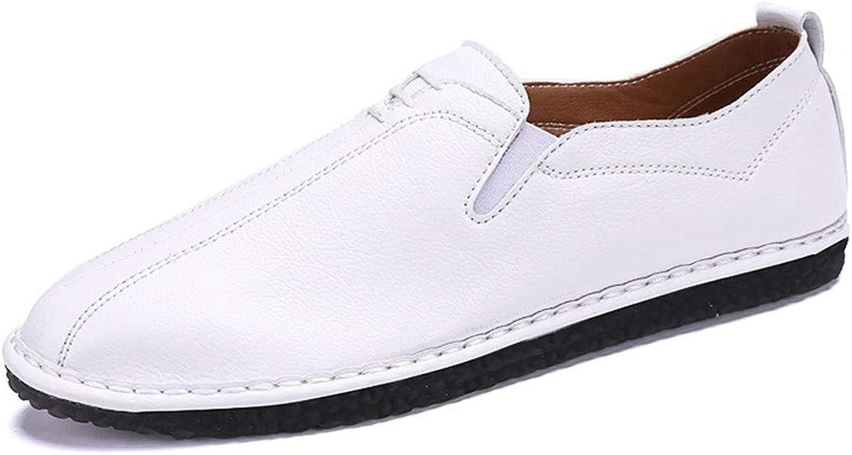 Men's Oxford shoes Men's Stylish comfortable matte texture Business Oxford Casual Light Soft Leather Breathable A Foot Pedal Lofer Dress Oxford shoes (color   White, Size   8.5 UK)