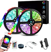 Led Strip Lights, WiFi Wireless Smartphone Controlled Waterproof RGB Rope Lights Flexible 5050 Light Strip 32.8ft 300Leds 24key IR Remote Controller UL Power Adapter Work with Android iOS Alexa