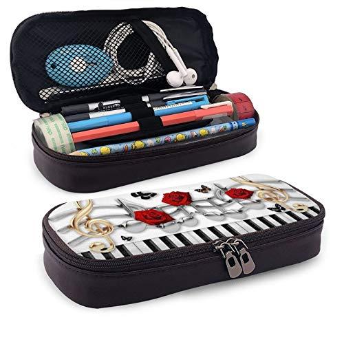 Estuche para lápices de piano, color blanco y negro, con diseño de rosas rojas