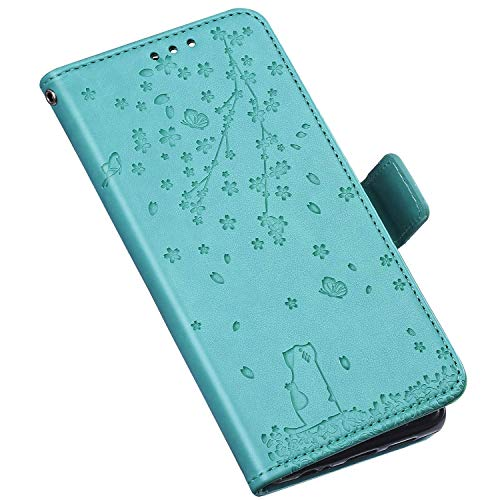 QPOLLY Coque Compatible avec LG K40 Étui à Rabat, Mignon Chat Fleurs Imprimé Design Portefeuille Cuir PU Flip Bookstyle Carte de Crédit Case Leather PU Housse Étui de Protection,Vert