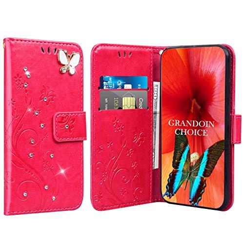 GrandoinChoice für Huawei Honor Play 8A / Y6 Pro 2019, Bling Glitzer Handyhülle im Brieftasche-Stil [Diamant-Serie] PU Leder Ledercase Flip Tasche Wallet Tasche Handytasche Cover Etui Hülle (Rot)