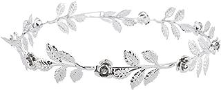 Silver Tone and Rhinestone Leaf Leaves Metal Flower Crown