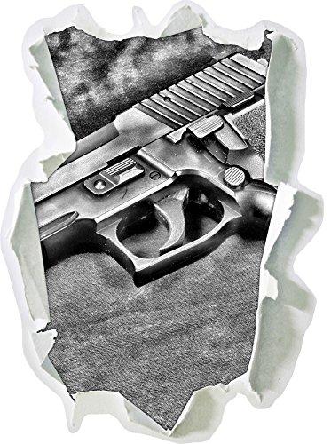 Stil.Zeit Monocrome, SIG SAUER Waffe Papier im 3D-Look, Wand- oder Türaufkleber Format: 92x62cm, Wandsticker, Wandtattoo, Wanddekoration