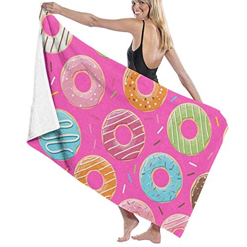 Lsjuee Toalla de Playa Pink Donut Toalla de Piscina Altamente Absorbente Toallas de baño Sábana de baño Extra Grande Premium Súper Suave para Deportes de Surf Playa Yoga SPA Hotel 80X130CM