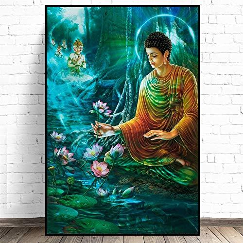 KWzEQ Cuadro En Lienzo Loto religioso Estatua de Buda Pared decoración del hogar Sala de Estar Arte Carteles imágenes,60x90cm,Pintura sin Marco