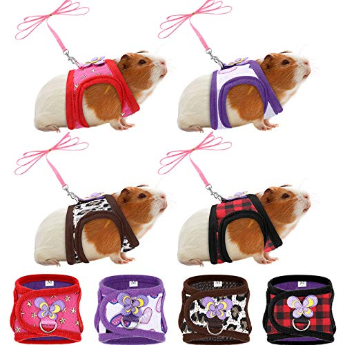 4 Pieces Small Pet Harness Cute Adjustable Vest and Leash Set for Guinea Pig, No Pulling Comfort Mesh Padded Vest for Small Pets, Ferrets, Chinchillas, Hamsters, Iguanas and Similar Small Animals (S)