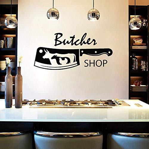 Slaktare butik kniv vinyl väggdekal tjur kyckling fårkött väggklistermärke kreativt fönsterglas vattentät tapet 42 x 79 cm