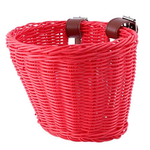 VORCOOL - Cesta de bicicleta para niños, cesta de coche para niños, cesta de bicicleta, cesta tejida para niños, color rojo