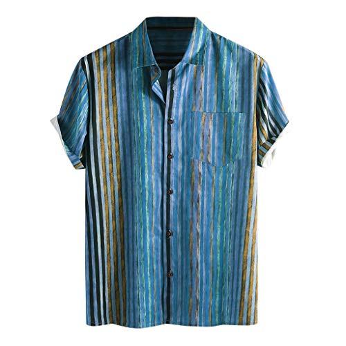 Xniral Herren Shirt Top Mehrfarbige Streifen/Tie-Dye Plus Size Graffiti Kurzarm Breitknöpfe Breite Blusen Mann Lustiges Druck-Urlaubs Strandhemd(h-Blau,L)