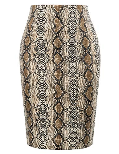 Kate Kasin Womens Knee Length Elastic Waist Stretchy Bodycon Business Pencil Skirt Snakeskin Brown