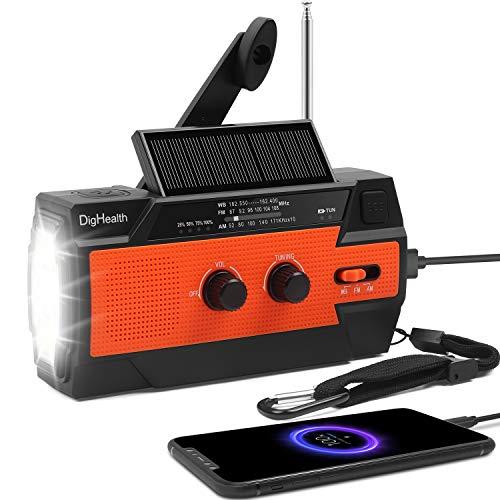 DigHealth Emergency Solar Hand Crank Radio, 4000mAh Portable Weather Radio for Emergency with AM/FM, LED Flashlight, Reading Lamp