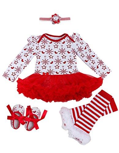 Barboteuse + Bandeaux des Cheveux + Jambières + Chaussures - Vêtement Bébé Fille Accessoires pour Fête Anniversaire - Age Adapté 1-2 Ans - Couleur 4