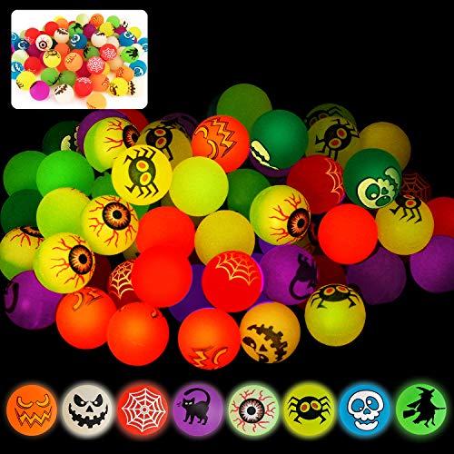 72 Hüpfbälle, leuchtet im Dunkeln, 8 Halloween-Designs für Halloween-Partyzubehör, Schule, Klassenzimmer, Spielbelohnungen, Süßes oder Leckereien, Halloween-Miniaturen/Preise (mit Beutel).