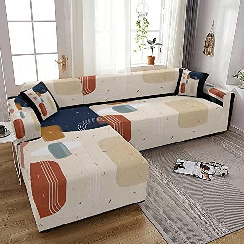 WXQY Funda de sofá elástica de geometría Moderna, Todo Incluido, Funda de sofá elástica en Forma de L, Fundas para sofá, Funda para sillones, Funda A4, 1 Plaza