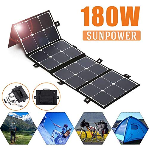 HJG 180W 18V Portable Sunpower Panneau Solaire Chargeur de Batterie Pliable pour Power Station Tablet RV Batterie, l'efficacité de Conversion de 25%
