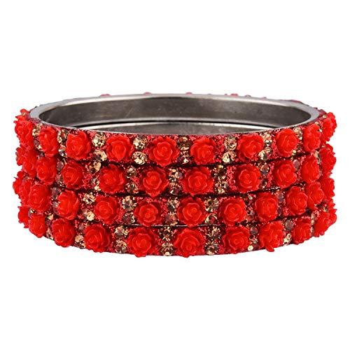 Efulgenz Indisches Armreif-Set, Bollywood-Stil, Strass, rote Kristalle, Brautschmuck-Armband-Schmuck-Set für Frauen Mädchen (4 Stück)