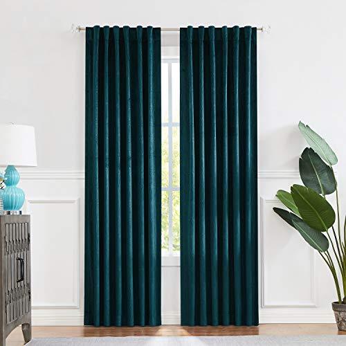 "Central Park Teal Velvet Window Curtain Room Darkening 90% Blackout Panels Rod Pocket Back Tab Geometric Embossed Trellis Themal Weave Drapes for Living Room and Bedroom (52"" Wx63 L, 2 Panels)"