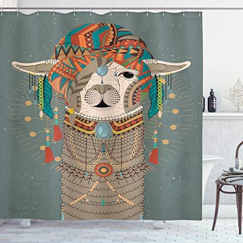 ABAKUHAUS Lama Duschvorhang, Ethnische Kleidung Alpaka, Hochwertig mit 12 Haken Set Pflegeleicht Farbfest Wasser Bakterie Resistent, 175 x 200 cm, Multicolor