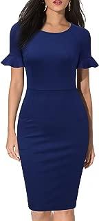 WOOSEA Elegant Round Neck Ruffle Short Sleeves Work Business Office Sheath Dress