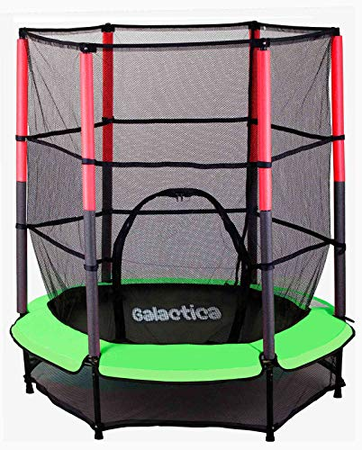 WestWood GALACTICA NEW Mini Trampoline | 4.5FT 55' with Safety Net Enclosure | Indoor Outdoor Children's Activity Junior Trampoline - Green