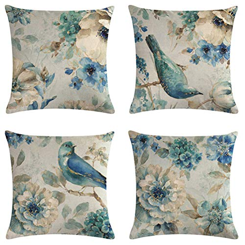"""7COLORROOM Watercolor Blue Flower and Bird Pillow Cover Animals Blue Birds On The Tree Cushion Cover Oil Painting Cotton Linen Set of 4 Home Decorative Pillowcases18""""×18""""(Blue Bird)"""
