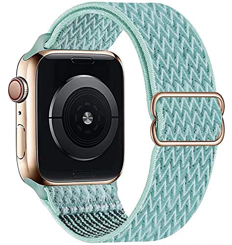 GBPOOT Solo Loop Kompatibel mit Apple Watch Armband, Nylon Sport Armband für IWatch Series 6/SE/5/4/3/2/1,Blaues Meer,38/40mm