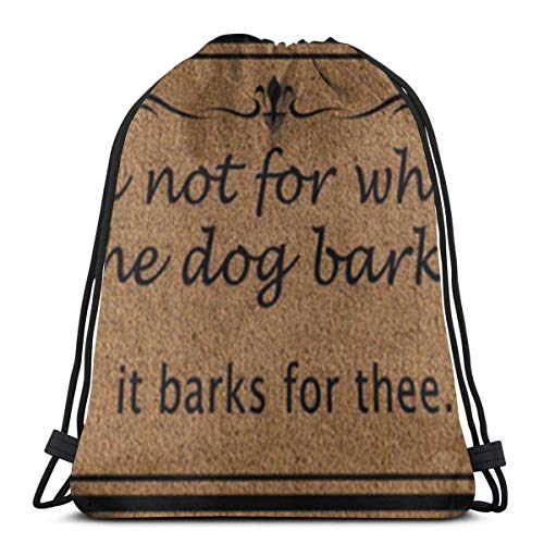March flowers Ask Not for Whom The Dog Barks It Barks for Thee 3D Print Drawstring Backpack Rucksack Shoulder Bags Gym Bag for Adult 16.9\