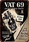 43LenaJon 1936 Vat 69 Scotch Whiskey Vintage Reproducción señal de seguridad callejera, decoración de jardín y cocina