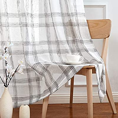 "Randall Linen Window Curtain Panel Pairs for Living Room 63"" Long Geometric Check Grommets Top Semi Sheer Window Treatment Heavy Rustic Farmhouse Style Drapes for Bedroom 54""x63""x2, Grey White"
