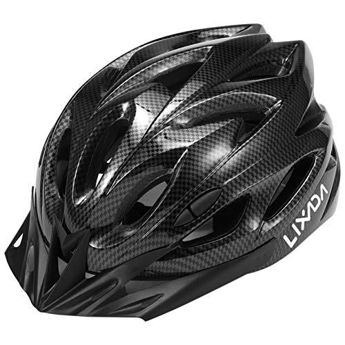 Lixada Casco Bici con Luce di Sicurezza Uomo Donne con Visiera Staccabile, Regolabile in Forma 18 Vents Doppio in MTB Casco della Bicicletta