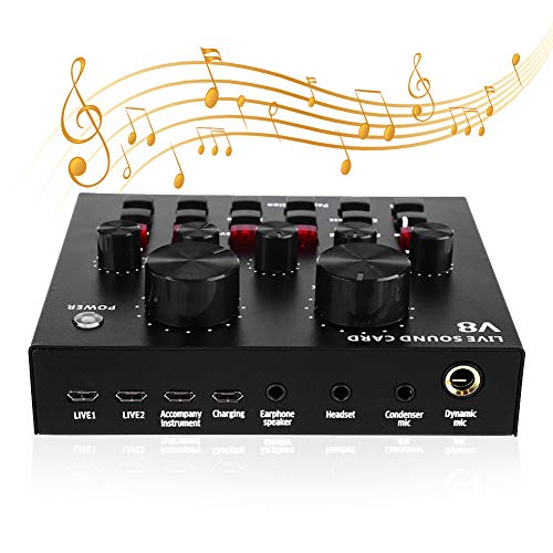 Tarjeta de Sonido En Vivo Multifuncional, Interfaz de Audio USB Profesional Tarjeta de Sonido Externa de Volumen Inteligente para Micrófono para Múltiples Usos