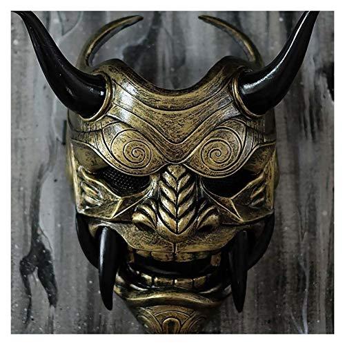 Miaoao-mask Cosplay mscara japons Samurai mscara ltex Cara Plena asustadizo prajna Disfraz de Halloween Asesino Cosplay apoyos (Color : Gold)