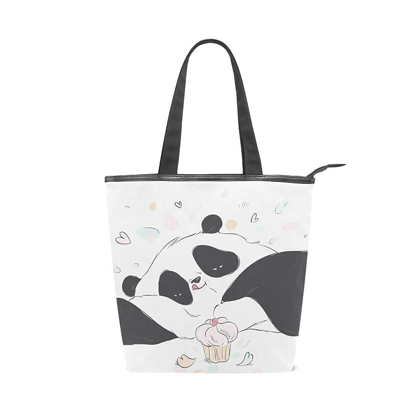 平らな持つ持つキャンバス バッグ トートバッグ 多機能 多用途2wayパンダ かわいい ショルダー バッグ ハンドバッグ レディース 人気 可愛い 帆布 カジュアル 多機能 両用トートバッグ ァスナー付き ポケット付 Natax