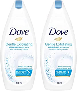 Dove Gentle Exfoliating Nourishing Body Wash, 190 ml (Pack of 2)