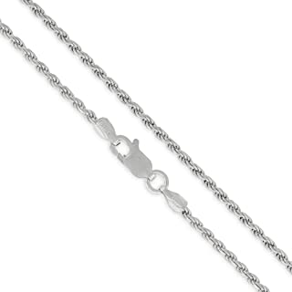 """Authentic Solid Sterling Silver Rope Diamond-Cut Braided Twist Link .925 Rhodium Necklace Chains 1.5MM - 5.5MM, 16"""" - 30"""", Made In Italy, Men & Women, Next Level Jewelry"""
